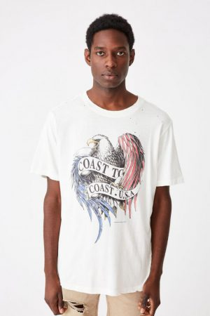 Cotton On Art | Mens Bondi Tee Sk8 Vintage White/Coast To Coast Usa