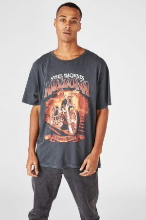 Cotton On Art | Mens Bondi Tee Sk8 Washed Black/Steel Machines Arizona