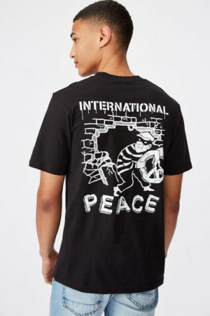 Cotton On Art | Mens Tbar Art T-Shirt Sk8 Black/International Peace