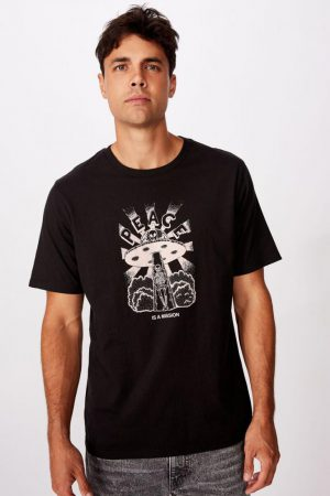 Cotton On Art | Mens Tbar Art T-Shirt Sk8 Black/Peace Is A Mission
