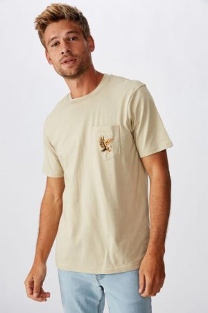 Cotton On Art | Mens Tbar Art T-Shirt Sk8 Pale Sand/Flying Eagle Embroid