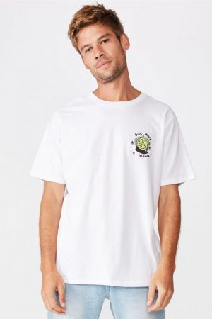 Cotton On Art | Mens Tbar Art T-Shirt Sk8 White/Give Peace A Chance