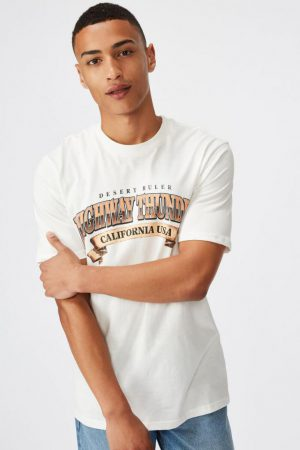 Cotton On Art | Mens Tbar Moto T-Shirt Sk8 Vintage White/Highway Thunder