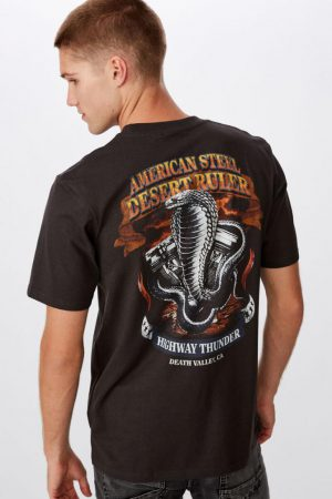 Cotton On Art | Mens Tbar Moto T-Shirt Sk8 Washed Black/American Steel