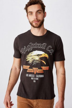 Cotton On Art | Mens Tbar Moto T-Shirt Sk8 Washed Black/Hightail Co.