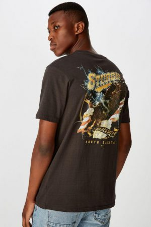 Cotton On Art | Mens Tbar Moto T-Shirt Sk8 Washed Black/Sturgis Hills