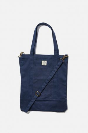 Cotton On Bags | Mens Book Tote Bag Washed Navy