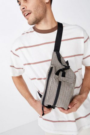 Cotton On Bags | Mens Bumbag Brown Houndstooth