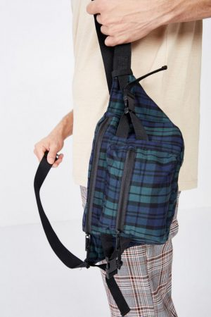 Cotton On Bags | Mens Bumbag Green/Navy/Black Plaid