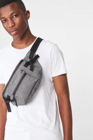 Cotton On Bags | Mens Bumbag Grey Check