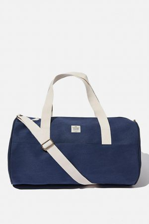 Cotton On Bags | Mens Canvas Barrel Bag Washed Navy