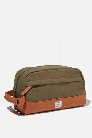 Cotton On Bags | Mens Heritage Dopp Bag Washed Khaki W/ Mid Tan