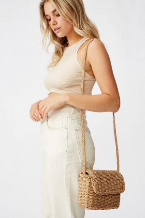Cotton On Bags | Womens Boxy Woven Cross Body Bag Natural