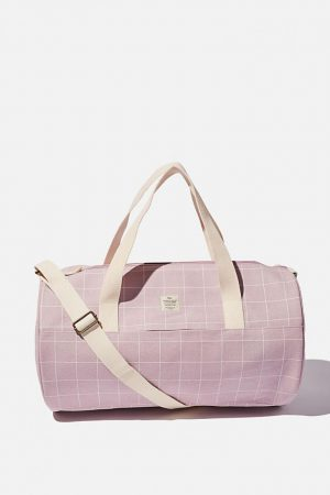 Cotton On Bags | Womens Canvas Barrel Bag Heather Grid