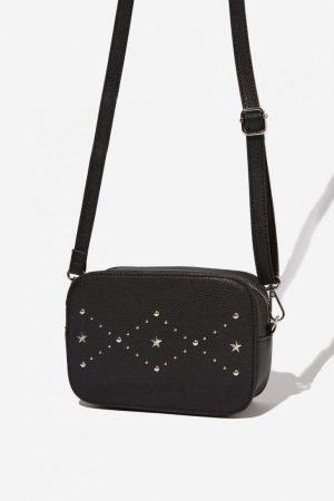 Cotton On Bags   Womens City X-Body Bag Black With Star Pattern