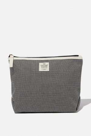 Cotton On Bags | Womens Cotton Travel Pouch Black Grid Check