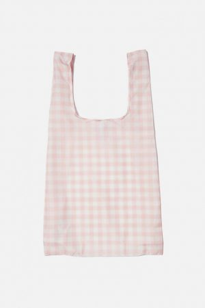 Cotton On Bags   Womens Foundation Recycled Foldable Shopper Peach Gingham Online Ext.