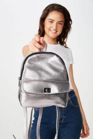 Cotton On Bags | Womens Mini Cairo Backpack Gunmetal Turnlock