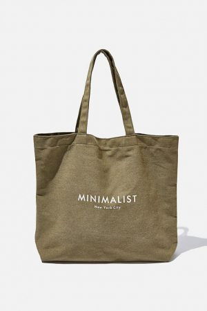 Cotton On Bags | Womens Minimalist Washed Tote Khaki
