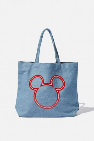 Cotton On Bags | Womens Minimalist Washed Tote Lcn Mickey Denim