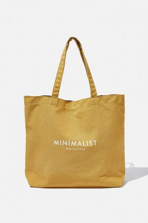 Cotton On Bags | Womens Minimalist Washed Tote Mustard