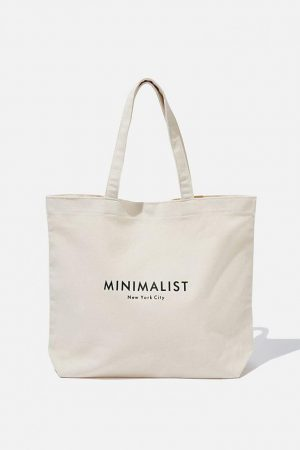 Cotton On Bags | Womens Minimalist Washed Tote Natural