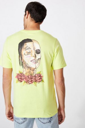 Cotton On Band | Mens Tbar Collab Music T-Shirt Lcn Wmg Fluoro Green/Lil Skies – Roses