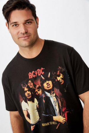 Cotton On Band   Mens Tbar Collab Tee Lcn Per Washed Black/Acdc – Highway To Hell