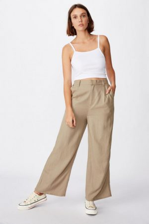 Cotton On Casual Pants | Womens Pleat Front Drapey Pant Desert Taupe
