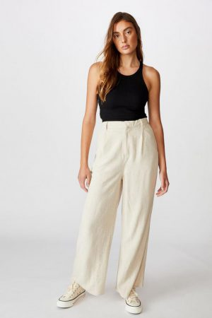 Cotton On Casual Pants | Womens Pleat Front Drapey Pant Latte Marle