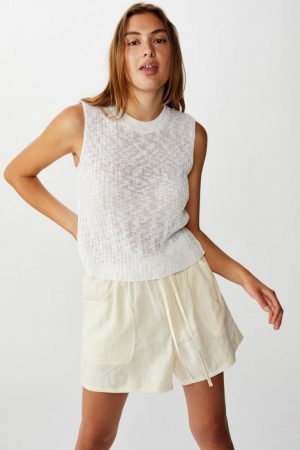 Cotton On Casual | Womens Drapey Longline Short Winter White