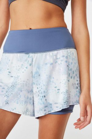 Cotton On Casual | Womens Highwaist Running Short Painted Fleck Blues