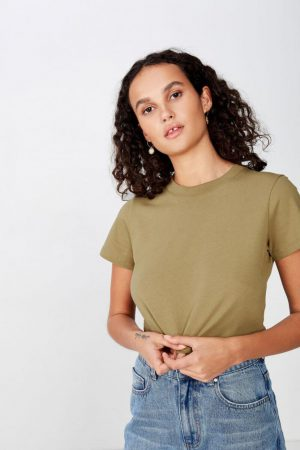 Cotton On Crop | Womens The Baby Tee Dried Herb