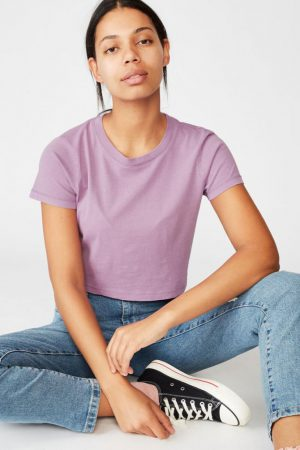 Cotton On Crop   Womens The Baby Tee Washed Lavender