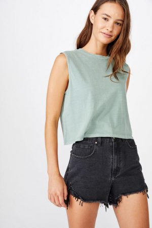 Cotton On Crop | Womens The Chop Muscle Tank Washed Chinois Green