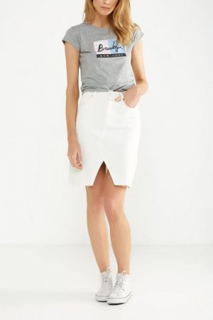 Cotton On Denim | Womens Denim Split Midi Skirt White