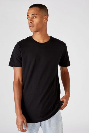 Cotton On Essential Tees | Mens Essential Longline Scoop Tee Black