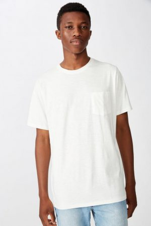 Cotton On Essential Tees | Mens Slub Crew Neck Tee Vintage White