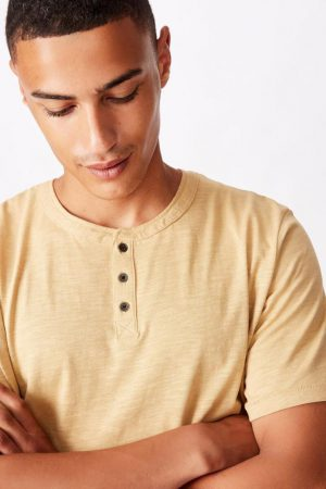Cotton On Essential Tees | Mens Slub Grandad Tee Light Camel