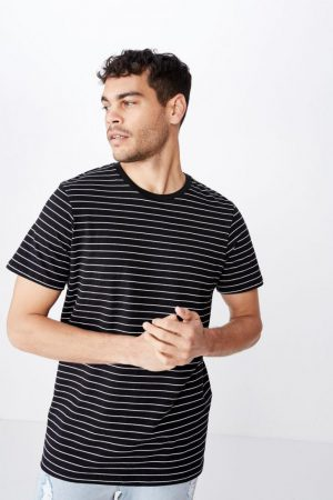 Cotton On Essential Tees | Mens Tbar Premium Crew Black/White Easy Stripe