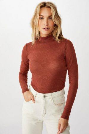 Cotton On Essential Tees | Womens Hudson Mock Neck Long Sleeve Top Mahogany