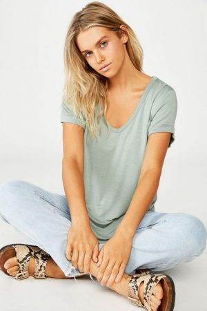 Cotton On Essential Tees | Womens Karly Short Sleeve V Neck Top Chinois Green