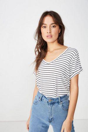Cotton On Essential Tees | Womens Karly Short Sleeve V Neck Top Jude Stripe White Black