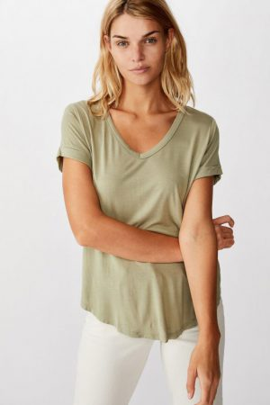 Cotton On Essential Tees | Womens Karly Short Sleeve V Neck Top Tea