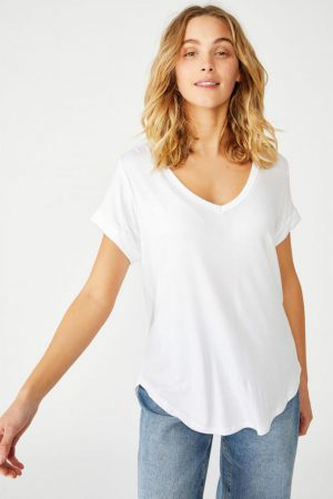 Cotton On Essential Tees | Womens Karly Short Sleeve V Neck Top White 2