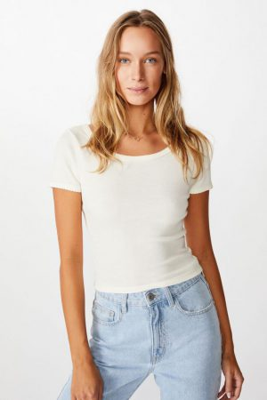 Cotton On Essential Tees | Womens Sweetheart Scoop Back Tee Gardenia