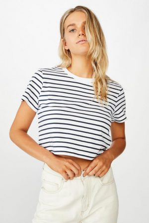 Cotton On Essential Tees | Womens The Baby Tee Cole Stripe White Moonlight