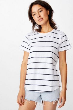 Cotton On Essential Tees | Womens The One Crew Tee Auto Stripe White Moonlight