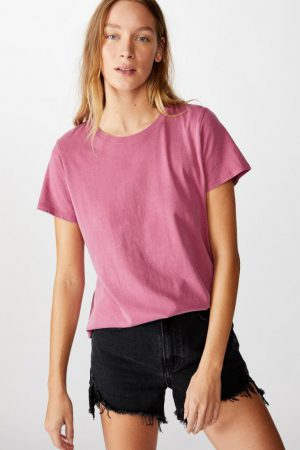 Cotton On Essential Tees | Womens The One Crew Tee Washed Rose Wine