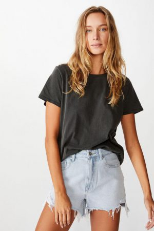 Cotton On Essential Tees | Womens The One Crew Tee Washed Vintage Black